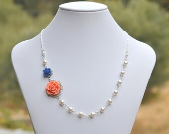Bridesmaid Necklace. Coral Rose and Navy Lotus Swarovski Pearl Necklace. Wedding Jewelry. Bridal Necklace.
