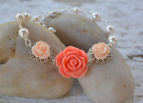 Bright Coral and Peach Rose Bracelet with White Swarovski Pearls.  Bridal Party Bracelet. Wedding Jewelry.