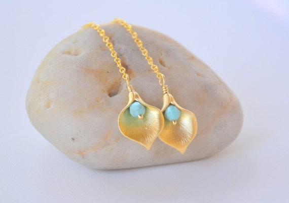 Long Gold Chain Earrings with Calla Lily Flower Petal and Turquoise Beads - Chic Long Gold Chain Earrings
