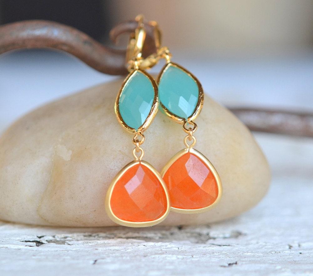 Burnt Orange Teardrop And Turquoise Oval Dangle Earrings Fall
