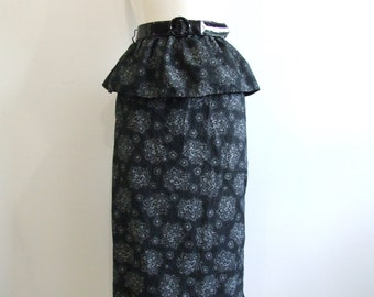 Floral Peplum Skirt Vintage Black Pencil Skirt NOS - M