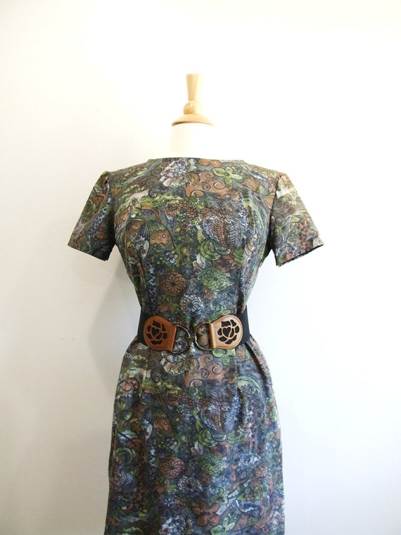 1960s Wiggle Dress Vintage 60s Floral Dress - M / L