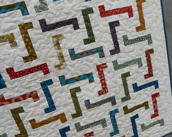 Quilt Pattern PDF INSTANT DOWNLOAD - Jiggles - Layer Cake, Honey Bun and Scrap Friendly Crib to King sizes Easy