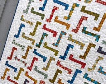 Quilt Pattern  - Jiggles - Layer Cake, Honey Bun and Scrap Friendly Crib to King sizes EASY