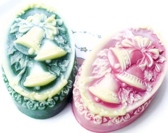 CHRISTMAS BELLS SOAP, Bell Soap, Stocking Stuffer, Holly Bells in Green & Red, Scented in Victorian Christmas, Christmas Guest Soap