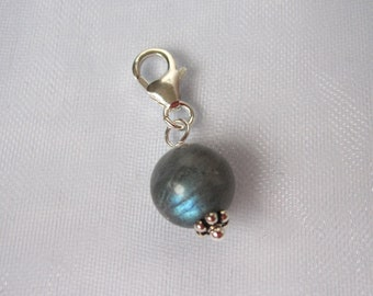 Sterling silver clip on charm, 8mm Blue Flashy LABRADORITE gemstone bead clip on charm, fits link charm bracelet