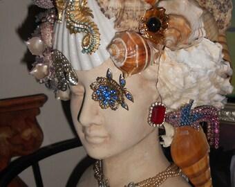 Medusa or mermaid shell and rhinestone bust handmade