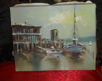Vintage 8x10 inches still life of sail boats and wooden docks
