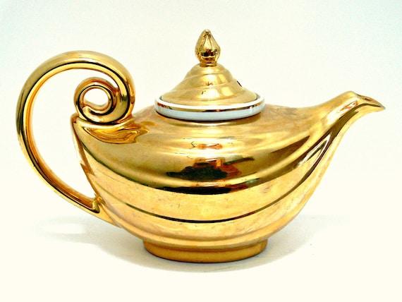 22k Gold Teapot Vintage Hall Golden Glo 1411 1950s