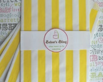 100 Yellow Stripe Candy Bags, Yellow Stripe Party Bags, Favor Bags, Popcorn Bags, Yellow Candy Bags