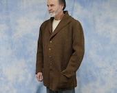 Vintage 60s 70s Handmade Men's Cardigan Sweater Coat Sweater Jacket, Sz Lg, XL