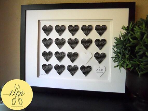 Custom Wedding Gift, First Dance Lryics, 3D Paper Heart - Framed Gift