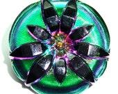 XL 36mm Green, Pink , and Black Czech Glass Button-Iridescent Glass-Gold Accents