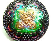 Large 30mm Green, Pink , and Black Czech Glass Button-Iridescent Glass-Gold Luster