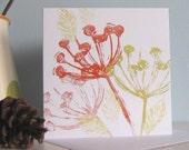 Lino Cut Card Autumn Seed heads