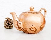 Teapot Fall garden Tea Party - painted ceramics - CraftUnikat