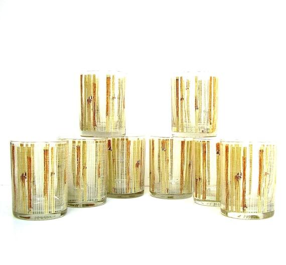 Vintage Mid century Bar ware 8 Tumblers Bamboo Tiki Glass ware