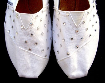 The Vivian - White Glitter TOMS with Swarovski Crystals