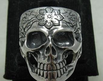 R001161 Sterling Silver Ring Solid 925 Skull Flower