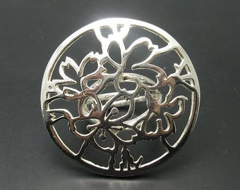 R000872 STERLING SILVER Ring Solid 925 Butterfly Flower Adjustable size