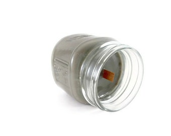 Mason Jar Candle - Pure Soy - Pewter Grey - Dragon's Blood -  Mason Jars Crackling Firewood Timber Wick - 8oz