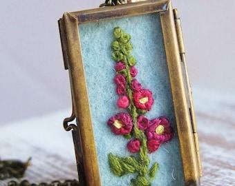 Embroidered Hollyhocks Locket