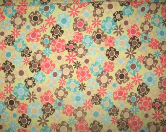 Timeless Treasures Small Floral on Light Green Fabric 1 Yard