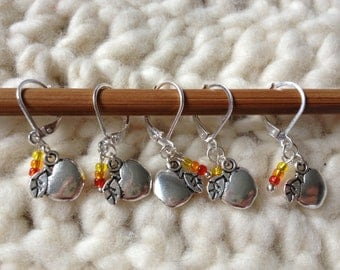 Removable Stitch Markers Apples - 5 Harvest Apple Stitch Markers for Crochet and Knitting