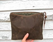 End of Year SALE //  50%  OFF // Waxed Canvas Midi Pouch in COCO / / / medium waxed canvas pouch