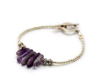 CROWN CHAKRA - Natural Amethyst Points Graduated Bracelet (Seventh Chakra - Migraines, depression, lung problems, nerve issues)
