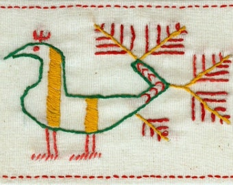 Russian Bird Embroiderd Postcard