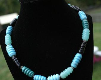 Single Strand Fall Aqua/Turquoise/Teal/Black  Lampworking Beaded Necklace