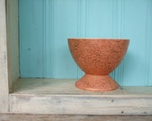 Bowl Mid Century Modern Footed Coral Gold Basket Weave