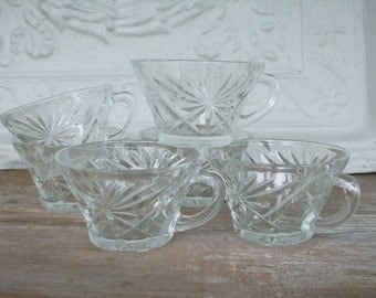 Pressed Glass Punch Cups Mod Rum Punch Set of 12