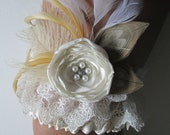 Rustic Wedding Garter, Peacock Bridal Garters, Ivory Shabby Lace Garter w/ Cream Feathers, Rose, Pearls, Country, Great Gatsby Wedding
