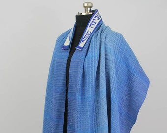 Blue Tallit - Handwoven, Hand dyed, OOAK