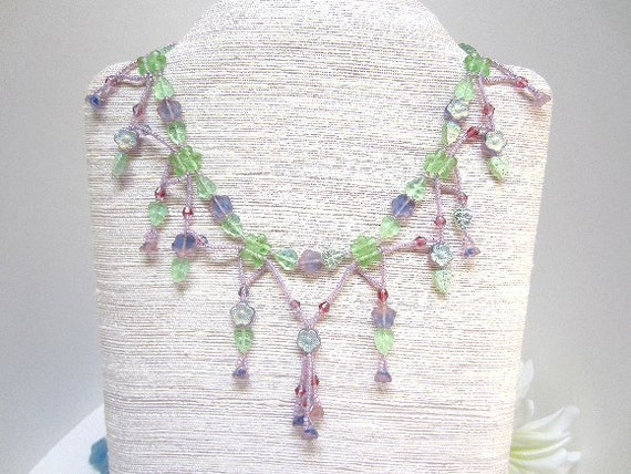 Flower Beadwork Necklace Green Lavender Art Nouveau OOAK