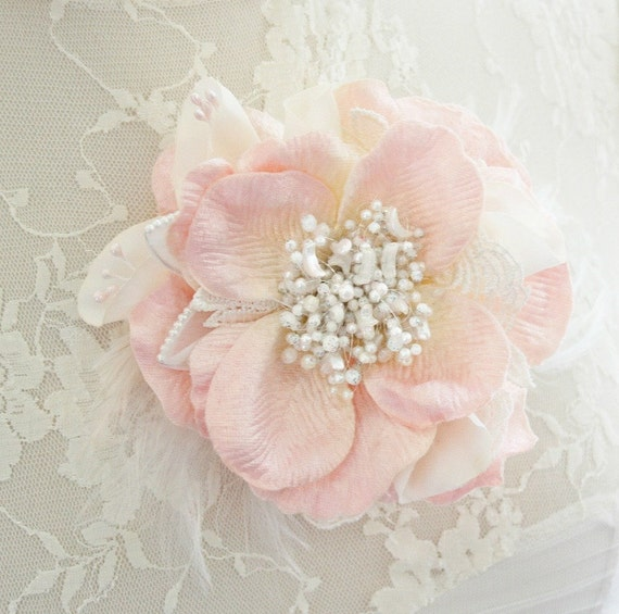 Bridal Hair Flower, Blush Hair Flower, Pink Hair Flower, Pearl Hair Accessories, Wedding Flower Hair Clip, Hair Accessories