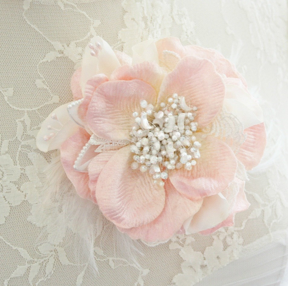 Wedding Hair Flowers Pink : Bridal hair flower blush pink pearl