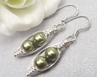Two Peas In A Pod Silver Earrings You Choose The Color.