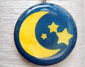 Yellow Moon and Stars Round Glass Pendant/ Handbag Charm