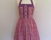Retro Dress, MEDIUM SIZE, vintage petite floral on pink fabric, fully lined
