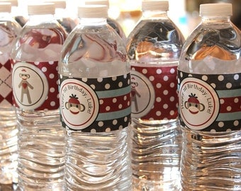 Sock Monkey Water Bottle Labels | Sock Monkey Drink Labels | Sock Monkey Water Bottle Wrappers | Sock Monkey Drink Labels