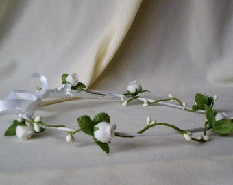 Wedding hair wreath accessories Bridal Headpiece fairy Flower Crown circlet silk rosebuds flower girl halo Budget bride First Communion