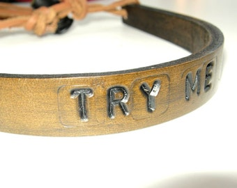 Leather Necklace Brown Choker Adjustable Choker Brown Leather Try Me