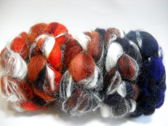 "Dizzed Carded Falkland Wool Roving - ""Burning Out"""