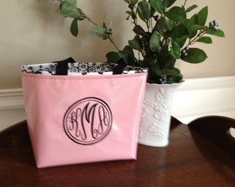 Small Oilcloth Monogrammed Tote Bag / Personalized Tote Bag / Personalized Purse / Monogrammed Purse - Pink w Black Toile Oilcloth Interior