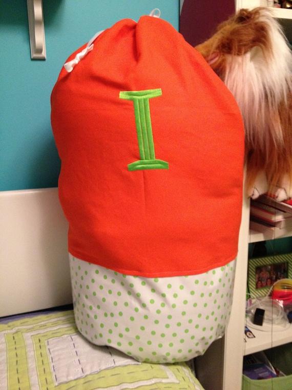 Orange and Lime Green Polka Dot Laundry Bag - Sleep Over Bag - Duffle Bag  - Large Monogram Available