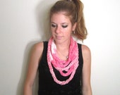 Scarf Knit Chunky Necklace Pink- The Towson Cowl