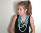 Skinny Scarf Knit Necklace Blue - The Towson Cowl